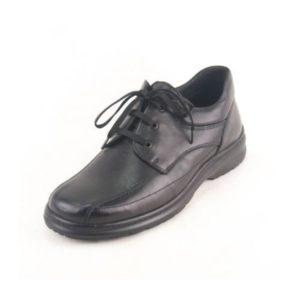 Ego Shoes-Ανδρικά Μοκασίνια Δερμάτινα με Κορδόνια-40-9502-34-ΜΑΥΡΟ