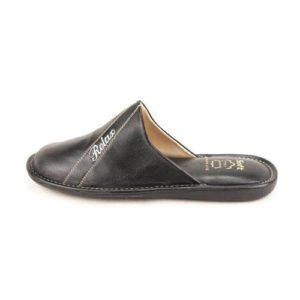 Zak Shoes-Ανδρικές Δερμάτινες Παντόφλες Relax-SO143BL-ΜΑΥΡΟ