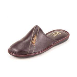 Zak Shoes-Ανδρικές Δερμάτινες Παντόφλες Relax-SO143MP-ΜΠΟΡΝΤΟ