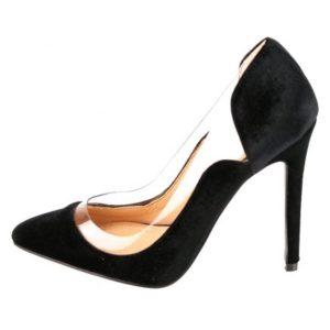 Zak Shoes-Γυναικεία Γόβα Suede με Διαφάνεια-37054-ΜΑΥΡΟ