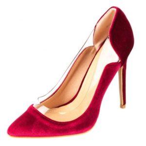 Zak Shoes-Γυναικεία Γόβα Suede με Διαφάνεια-37054-ΜΠΟΡΝΤΟ