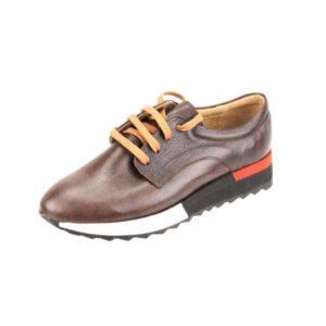 Γυναικεία Δερμάτινα Sneakers Κούρος, Καφέ, Λείο Δέρμα κωδ. L200
