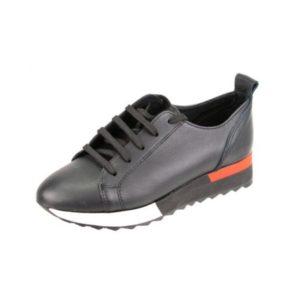 Γυναικεία Δερμάτινα Sneakers Κούρος, Μαύρο, Λείο Δέρμα κωδ. L400
