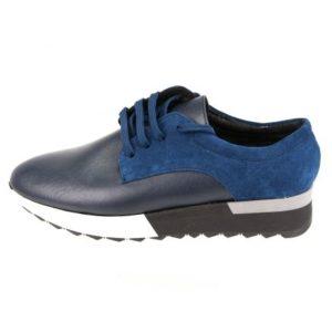Γυναικεία Δερμάτινα Sneakers Κούρος, Μπλε, Δέρμα και Καστόρι κωδ. L200