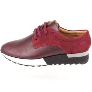 Γυναικεία Δερμάτινα Sneakers Κούρος, Μπορντό, Δέρμα και Καστόρι κωδ. L200