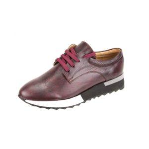 Γυναικεία Δερμάτινα Sneakers Κούρος, Μπορντό, Λείο Δέρμα κωδ. L200