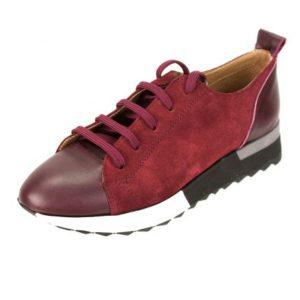 KOUROS-Γυναικεία Δερμάτινα Sneakers Δέρμα και Καστόρι-L400-ΜΠΟΡΝΤΟ