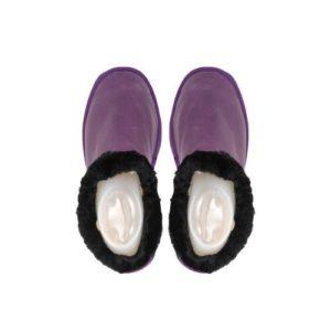 Γυναικείες Δερμάτινες Παντόφλες Καστοριάς Κλειστές, Μαλακό Δέρμα, Μωβ