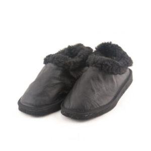 Γυναικείες Παντόφλες Καστοριάς, Κλειστές, Μαλακό Δέρμα, Χρώμα Μαύρο