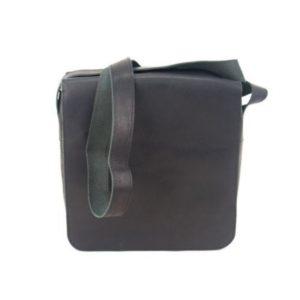 Δερμάτινη Ανδρική Τσάντα Ώμου, Κούρος Model 15 με Καπάκι χρώμα Μαύρο