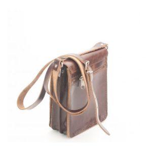 KOUROS-Δερμάτινη Ανδρική Τσάντα Ώμου με Καπάκι-322-ΚΑΦΕ
