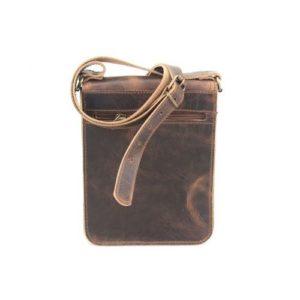 Δερμάτινη Ανδρική Τσάντα Ώμου, καφέ χρώμα, Κούρος Model 323 με Καπάκι.