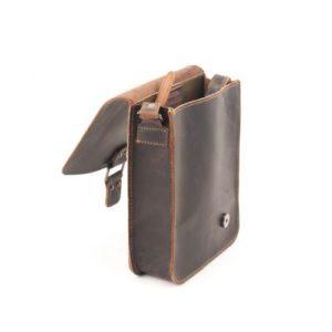 Δερμάτινη Ανδρική Τσάντα Ώμου, χρώμα καφέ, Κούρος Model 723 με Καπάκι.