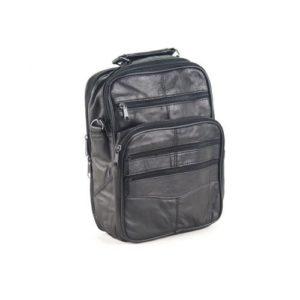 Δερμάτινη Ανδρική Τσάντα Ώμου, χρώμα μαύρο, Κούρος Model 2005/10
