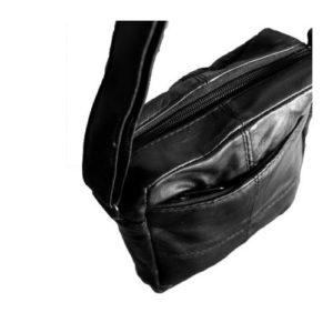 Δερμάτινη Ανδρική Τσάντα Ώμου, χρώμα μαύρο, Κούρος Model 3#