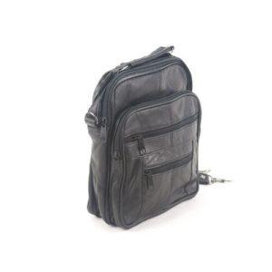 Δερμάτινη Ανδρική Τσάντα Ώμου, χρώμα μαύρο, Κούρος Model 57-2