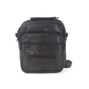 Δερμάτινη Ανδρική Τσάντα Ώμου, χρώμα μαύρο, Κούρος Model 57-3
