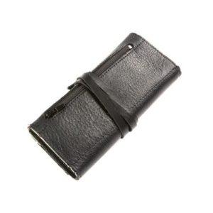 Δερμάτινη Καπνοθήκη Κούρος με Κορδόνι χρώμα Μαύρο Model 111605