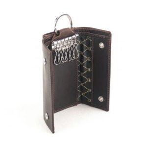 Δερμάτινη Κλειδοθήκη - Πορτοφόλι Model GO7 Χρώμα Καφέ Σκούρο