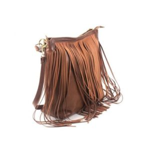 KOUROS-Δερμάτινη Τσάντα με Κρόσια Γυναικεία-334-ΚΑΦΕ ΚΕΡΙΟΥ