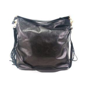 KOUROS-Δερμάτινη Τσάντα με Κρόσια Γυναικεία-334-ΜΑΥΡΟ
