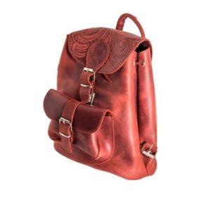 Δερμάτινο Σακίδιο Πλάτης Model 142 Μπορντώ με Κλάρα Χρώμα, Δέρμα Ά Ποιότητα
