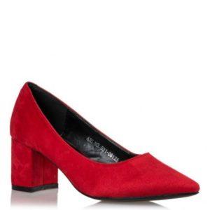 Smart Shoes-Μυτερές Γόβες Suede-S31-08125-30-ΚΟΚΚΙΝΟ