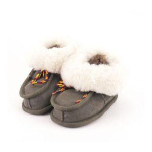 Dalis Leather-Παιδικά Δερμάτινα Κλειστά Παντοφλάκια Καστοριάς (Suede)-ΓΚΡΙ