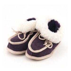 Dalis Leather-Παιδικά Δερμάτινα Κλειστά Παντοφλάκια Καστοριάς (Suede) Μωβ