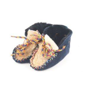 Dalis Leather-Παιδικά Δερμάτινα Παντοφλάκια Καστοριάς Suede, (Αγκαλίτσας), Μπλε