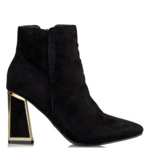 Miss NV-Block Heel Booties-V37-12346-34-ΜΑΥΡΟ
