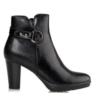 Miss NV-Block Heel Booties-V63-12230-34-ΜΑΥΡΟ