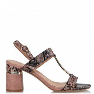 Miss NV-Block heel sandals-V37-11317-36-ΜΠΕΖ ΚΡΟΚΟ