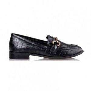Miss NV-Croco Loafers-V84-12204-34-ΜΑΥΡΟ