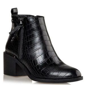 Miss NV-Mid Heel Booties-V57-12663-34-ΜΑΥΡΟ