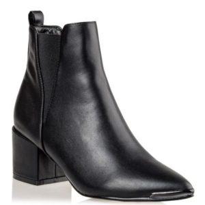 Miss NV-Mid Heel Booties-V65-12036-34-ΜΑΥΡΟ