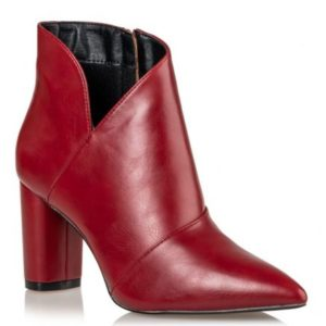 Miss NV-POINTY ANKLE BOOTS-V57-10115-95-ΚΟΚΚΙΝΟ