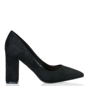 Smart Shoes-Γόβες από Suede Συνθετικό Δέρμα -S31-07166-34-ΜΑΥΡΟ