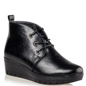 Miss NV-Wedge Ankle Booties-V63-12217-34-ΜΑΥΡΟ