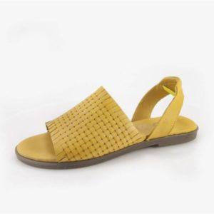 Γυναικεία Δερμάτινα Σανδάλια Safe Step-90421-Κίτρινο