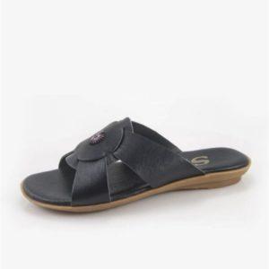 Γυναικεία Δερμάτινα Σανδάλια Safe Step-90423-Μαύρο