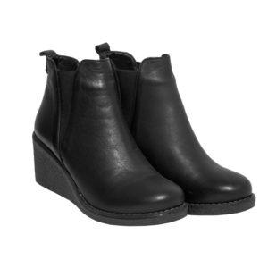 Safe Step-Δερμάτινο Γυναικείο Μποτάκι-12214-ΜΑΥΡΟ