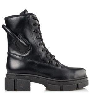 ENVIE–COMBAT BOOTIES–E02-14021-34–ΜΑΥΡΟ