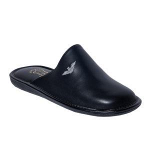 Zak Shoes-Ανδρικές Δερμάτινες Παντόφλες-S01545-ΜΑΥΡΟ
